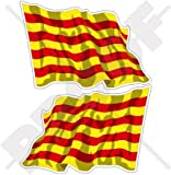 """Cataluña catalán España La bandera de saludando de Catalunya 4,7""""(120mm) carcasa de vinilo pegatinas, calcomanías x2"""
