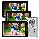 Dreifamilienhaus Video Türsprechanlage 9 Zoll Monitor Front schwarz weiss Bildspeicher, speichert Video und Ton