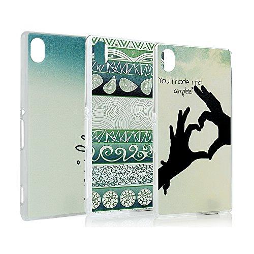 Lanveni 3x Gemalt PC Transparent Hülle für Sony Xperia M4 Aqua Smartphone Schutzhülle Etui Telefon-Kasten Case Shell Handycover Abdeckung Backcover Handyhülle(Lieben + Finger Herz +Laub Tribal-Muster)