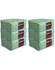 Kuber Industries Metalic Print 6 Piece Non Woven Saree Cover Set