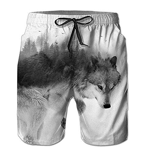 Bluepy Uomo Costumi Lupo da Bagno Pantaloncini con Motivi Stampati in 3D XXL
