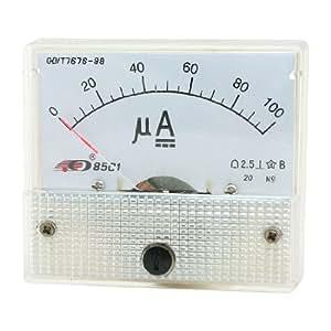 Kunststof behuizing Analoge AMP Huidige Panel 0-100uA DC Ampèremeter 85c1
