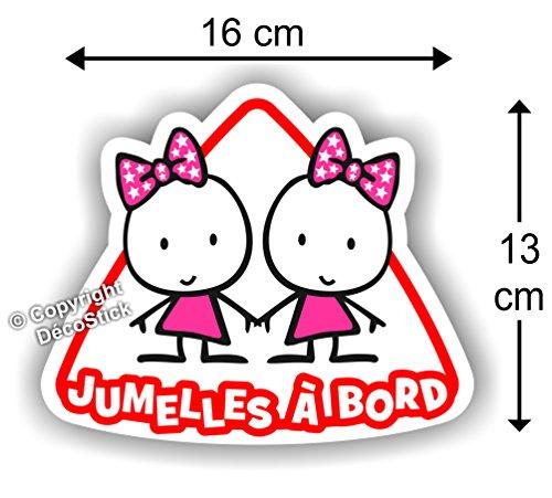 Jumelles à bord Fille / Fille - Sticker Autocollant Jumeaux bébé à bord modèle 1