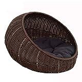 PLDDY Nido per animali domestici in rattan, quattro stagioni confortevole per cani/gatti lavabile marrone 40 * 35 * 50cm