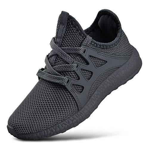 FiBiSonic Laufschuhe Herren Turnschuhe Sportschuhe Straßenlaufschuhe Sneaker Atmungsaktiv rutschfest Trainer für Running Fitness Gym Outdoor Zement Grau 47