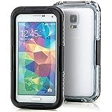 Saxonia Wasserdichte Schutzhülle für Samsung Galaxy S5 / S5 Neo Hülle Waterproof Case Outdoor Transparent-Schwarz