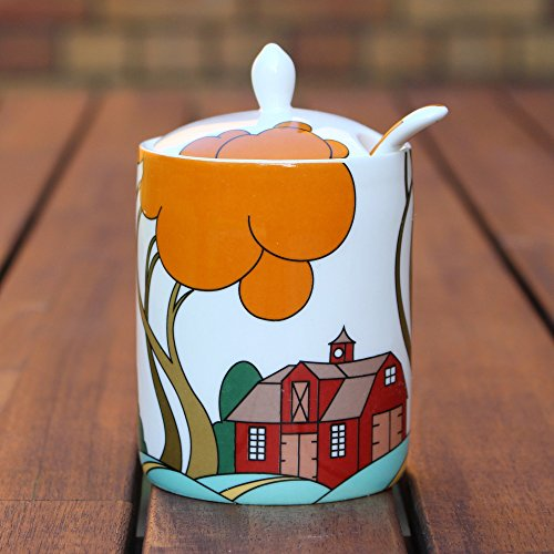 Modern Jam Pot and Spoon - Farm Barn - Clarice Cliff Inspired by Redwood Collection - Jam Pot
