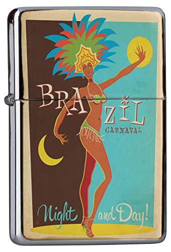 LEotiE SINCE 2004 Chrom Sturm Feuerzeug Benzin Bedruckt Abenteurer Brasilien Karneval Tag und Nacht kostümierte Frau