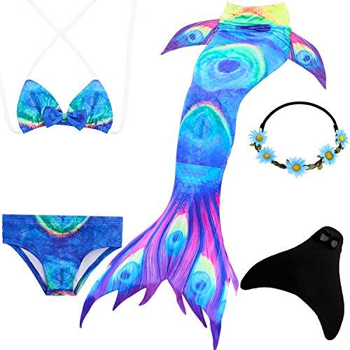 UrbanDesign Meerjungfrau Flosse Zum Schwimmen Meerjungfrau Schwanz mit Flosse mit Bikini für Kinder Mädchen, 7-8 Jahre, Blaues Bitumen