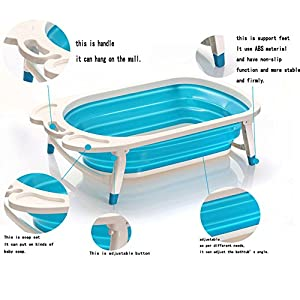 Foldable Baby bath Tub - Lightweight and Sturdy ideal for easy Storage by Babyhugs - BLUE