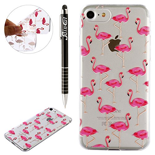 iPhone 8 Hülle,iPhone 7 Hülle,iPhone 7/iPhone 8 Silikon Hülle Tasche Handyhülle,SainCat Relief Obst Muster Ultra dünne Silikon Hülle Schutzhülle Durchsichtig Hadytasche Stoßfeste TPU Gel Case Bumper W Flamingos