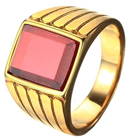 PAURO Herren Edelstahl Vergoldet Vintage Square Edelstein CZ Ring Mit Gerillten Seiten Einfache Art Rot Größe 57