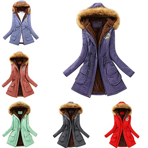 Toamen Womens Coat Clearance Autumn Winter Warm Fur Collar Slim Fit Monochrome Zipper Long Hooded Jacket Parka Outwear
