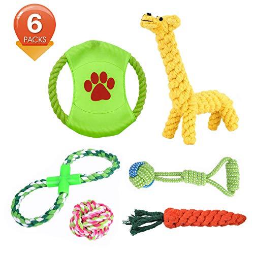 Asubel Masticare Giocattoli per Cani 6 Pacchetti Set Regalo, Giocattoli di Solitudine della Corda da Masticare Durevole per Piccolo a Medio Pet InterAttivi Set