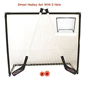 Street Hockey Set With Sticks Goal Net Puck & Ball no ice (2 Net Hockey set)