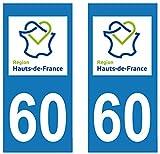 supstick 2 STICKERS AUTOCOLLANT PLAQUE IMMATRICULATION DEPT 60 Hauts de France format rectangulaire...
