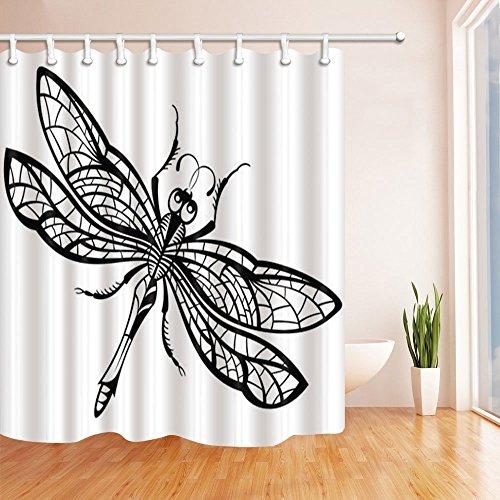 Mit Duschvorhänge Libellen (gohebe 3D Digital Druck Tiere Decor Schwarz und Weiß Libelle Polyester-Duschvorhang Schimmelresistent-Badezimmer Dekoration Bad Vorhänge Haken enthalten 180,3x 180,3cm)