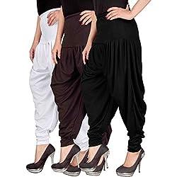 Navyataa Womens Lycra Dhoti Pants For Women Patiyala Dhoti Lycra Salwar Pant Free Size (Pack Of 3) White , Brown & Black
