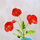 SYxiongsheng friendly Wild Poppy Silk Flower Stem 4 Heads Artificial Flowers Decorative Fake Flower(None 09)