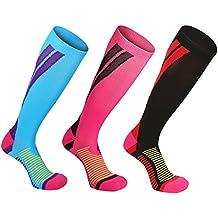 Calcetines de compresión Medias de compresión para Hombres y Mujeres, deporte, trotar, correr, volar, viajar, varicosas,embarazo y médicos, aumentar la circulación sanguínea, la regeneración,Negro.