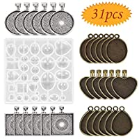 Pendant Trays, bluesees 30 Pieces 5 Styles Pendant Blanks Round & Square & Heart & Teardrop & Oval and 1PC Resin Mold for Craft DIY Jewelry Gift Making