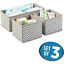 mDesign Cajas almacenaje juego de 3 – Cajas almacenaje ropa, toallas, sábanas – Ideales