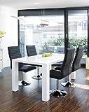 Esstisch-Gruppe weiß Hochglanz 120x80 cm recht-eckig mit 4 Lio Kunst-Leder Stühlen | Luca | Essgruppe weiss mit 4 schwarzen Stühlen | Designer Tischgruppe mit Ess-Tisch weiß lackiert 120cm x 80cm 5 tlg.