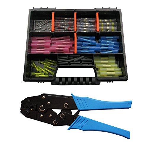 Preisvergleich Produktbild Schrumpfverbinder Lötverbinder Schrumpfschlauch Crimpzange Sortiment 135 Teile