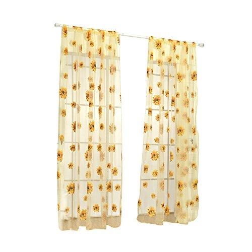 -Vorhang, 100 x 200 cm, durchscheinender Sonnenblumen-Vorhang, Heimdekoration, Raumteiler, Volant, Vorhänge - Blau gelb ()