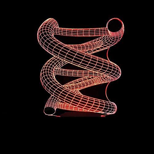 YWYU 3D Illusion LED Nachtlicht 7 Farben Allmählich Ändern Virtuelles Licht Schreibtischlampe Fernbedienung Touch-Schalter USB Tischlampe für Jungen Mädchen Spielzeug Urlaub Dekoration Geschenke