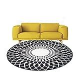 Runde 8mm Dicke Rutschfeste Wohnzimmer Schlafzimmer Teppich Garderobe Stuhl Weichen Teppich schwarz und weiß Multi-Größe Optional 80 * 80 cm (Größe : 160 * 160cm)