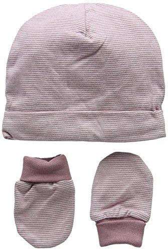 Mamas & Papas Baby-Mädchen Mütze Marl Stipe Hat & Mitts Rose, (Herstellergröße: 3-6 Monate)