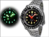 Taucher Uhr m. Automatik Werk Saphir Glas Edelstahl Band Helium Ventil T0079M - 2