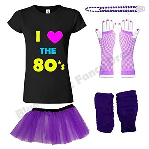 I Loveheart the 80s T-shirt with Purple Accessories Set