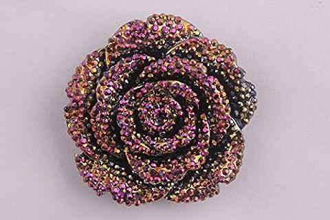 MajorCrafts® 3pcs Purple Gold AB 42mm Large Flat Back Chunky Resin Rhinestones Rose Flower Embellishments C9