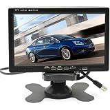 "7"" TFT LCD Coche Camión Retrovisor Monitor CCTV vigilancia con Mando Distancia - 12V-24V 800 * 480HD w / Quitasol Anti-deslum"