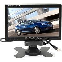 """7"""" TFT LCD Coche Camión Retrovisor Monitor CCTV vigilancia con Mando Distancia - 12V-24V 800 * 480HD w / Quitasol Anti-deslumbramiento 2 canales RCA Vídeo Entradas"""