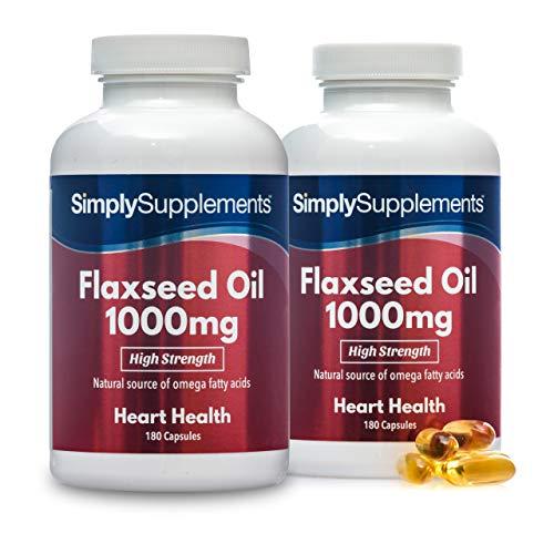 Olio di semi di lino 1000 mg spremuto a freddo - 360 capsule - 4 mesi di trattamento - SimplySupplements