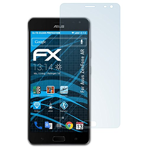 atFolix Schutzfolie kompatibel mit Asus ZenFone AR Folie, ultraklare FX Bildschirmschutzfolie (3X)