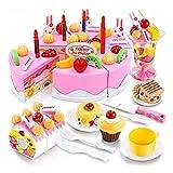 Kuchen und Tee Becher Set -54 Stück Küche Spielzeug Regenbogen Geburtstagstorte Essen Kinder DIY Frucht Kuchen und Tee Becher Set für Kinder Mädchen (Pink)