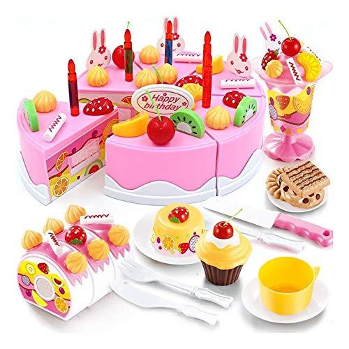 Kuchen und Tee Becher Set -54 Stück Küche Spielzeug Regenbogen Geburtstagstorte Essen Kinder DIY...