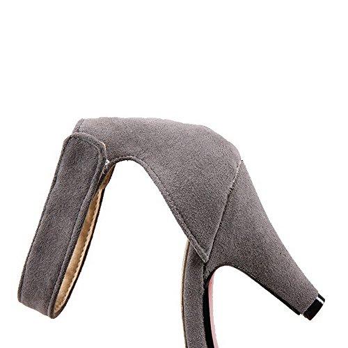 VogueZone009 Donna Velcro Punta Chiusa Scarpe A Punta Tacco Alto Pelle Di Mucca Puro Ballerine Grigio