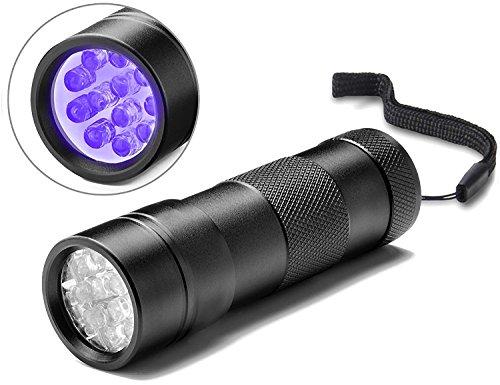 Act® UV Lampe 12 Led UV Taschenlampe Schwarzlichtlampe Urinflecken detektor Hund / Katze Fleckenentferner, finden chemische Flecken auf Teppichböden, Teppiche, Boden