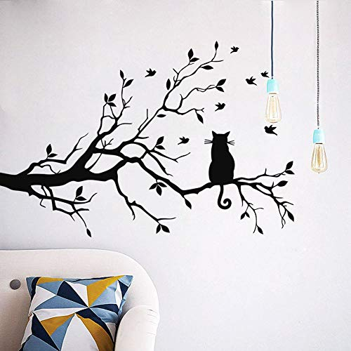 WWYJN Kids Baby Bedroom Wall Sticker Cat Branch Birds Tree Home Decor Cute Animal Decoration for Bedroom Poster Mural Decals  57X85CM