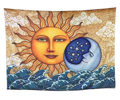 Wandteppich Mond Sun Psychedelic Wandbehang Indische Mandala Böhmischen Hippie Strand Werfen Decke für Schlafzimmer Wohnzimmer Dekor (Farbe : A, größe : 150 * 200cm) (Hippie Decke Werfen)
