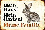 ComCard Mein Haus! Mein Garten! Meine Familie! Hase Kaninchen karnickel Rabbit Schild aus Blech, Metal Sign, tin