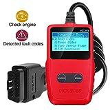 OBD2 Auto Diagnosegerät, OBDII Diagnosis Codeleser Moto Licht Fehlercode mit LCD Bildschirm, Auto KFZ Diagnosegerät mit 16-pin für Alle Fahrzeuge EOBD/OBD2 Protokolle Unterstützung Multi-Sprachen