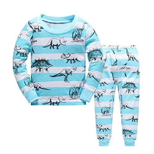 Dinosaurier Pyjamas Pjs (Baby-Pyjama-Baumwollkleinkind-Jungen-Kind-Dinosaurier-Nachtwäsche-Nachtwäsche-blaue Pyjamas gesetztes 5 Jahre)