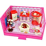Coolbitz Doll house Furniture Set, Miniature Bathroom/ Kid Room/ Bedroom/ Kitchen House Furniture Dollhouse Decoration accessories with 7 Bears Family Play with Carry Case