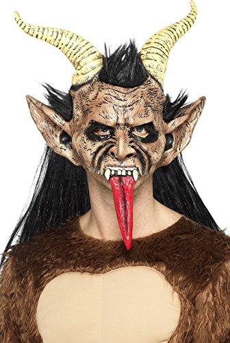 Kostüm Kind Demon - Smiffys SMIFFY 'S 47074Beast/Krampus-Demon Maske, Braun, ONE Size